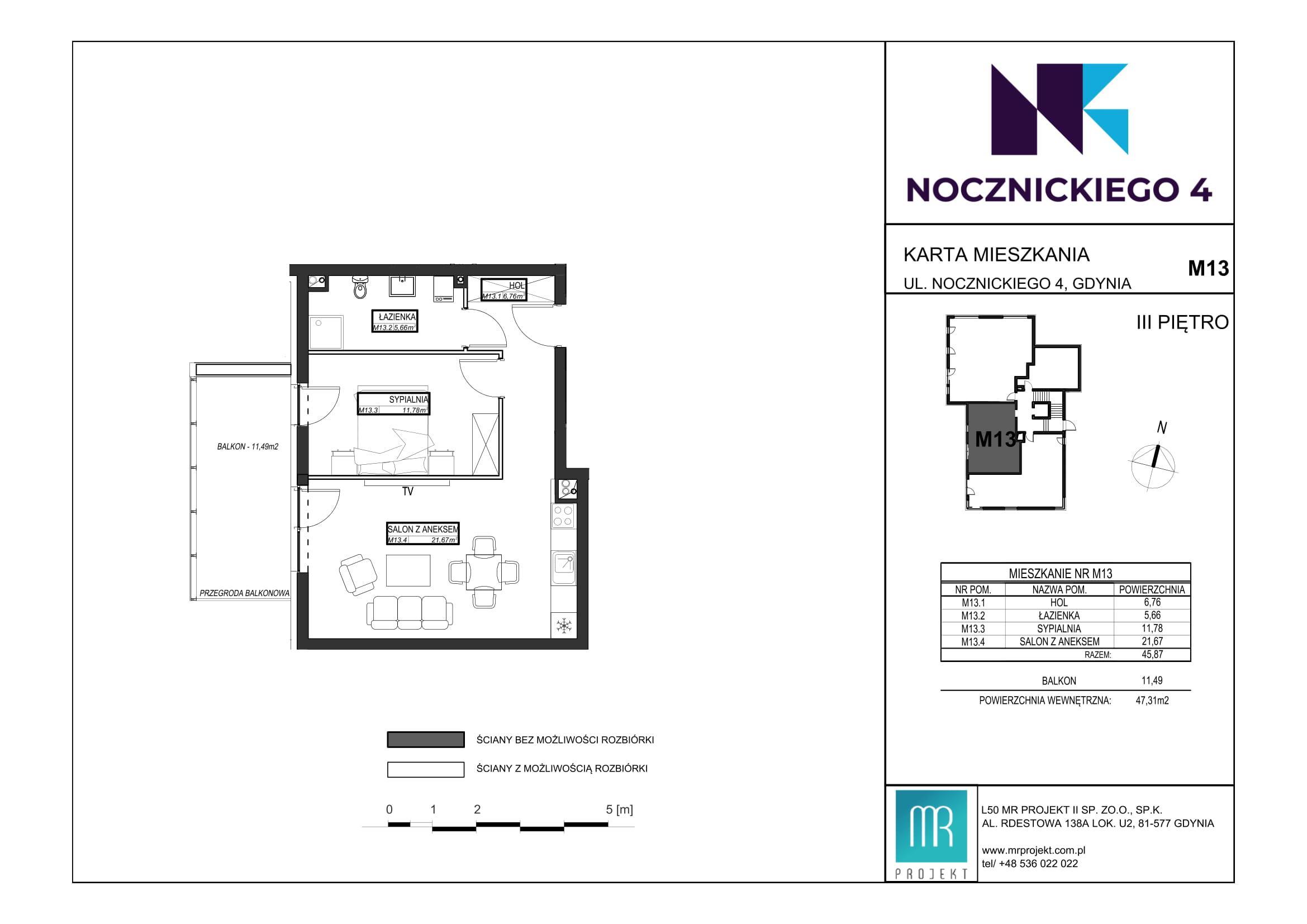 Rzut mieszkania M13
