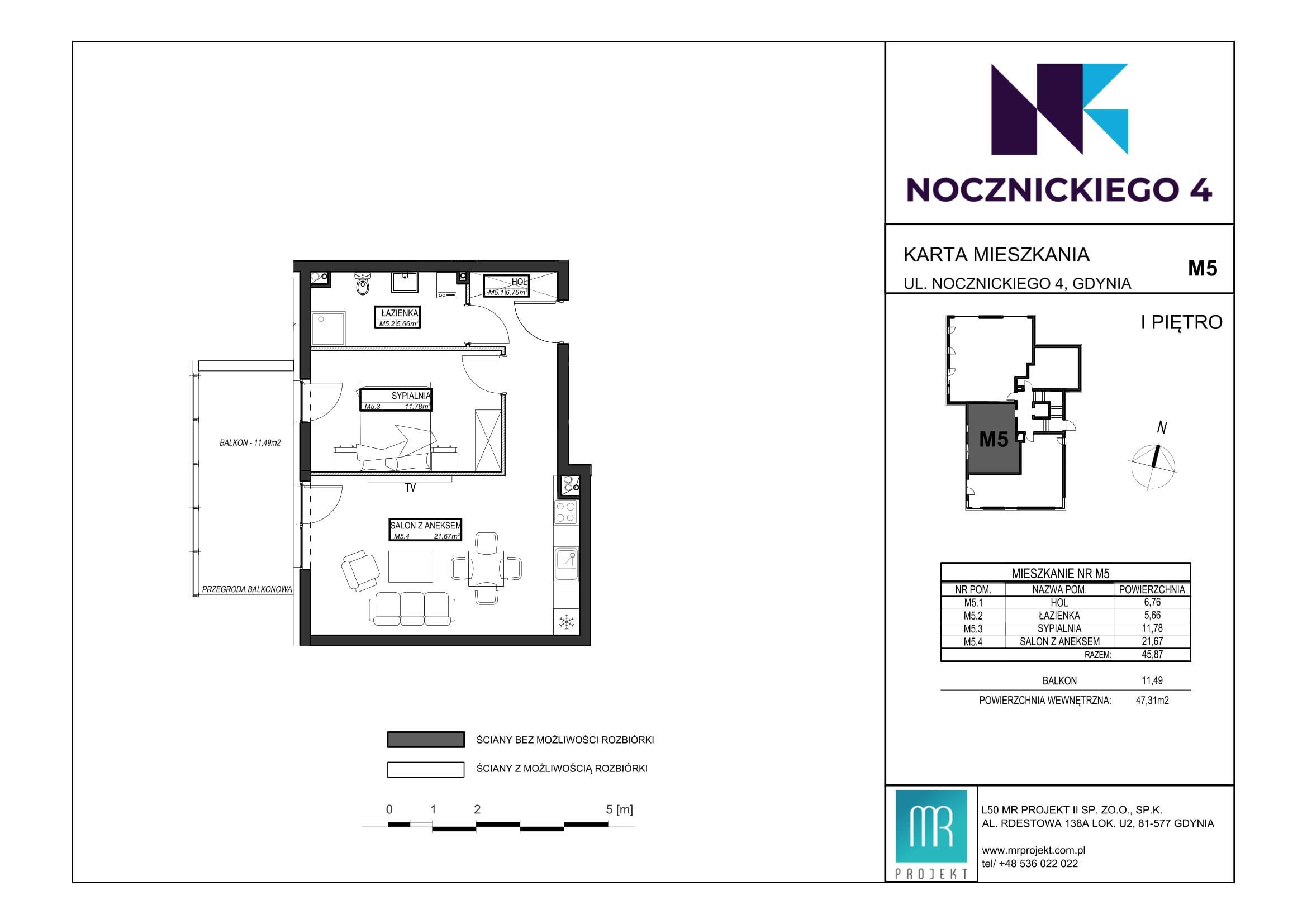 Rzut mieszkania M5