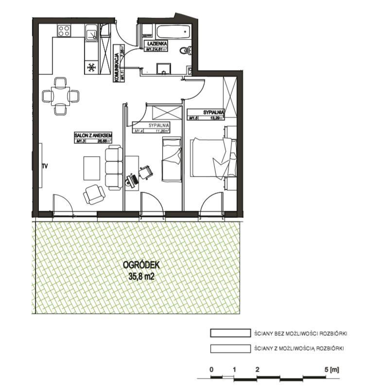 Rzut mieszkania M1