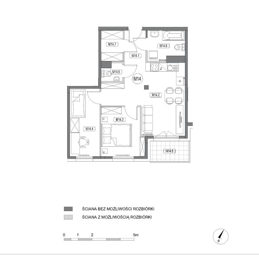 Rzut mieszkania M14