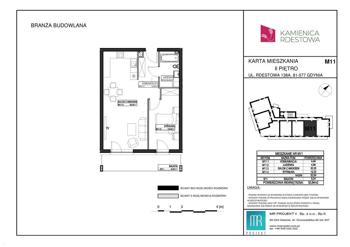 Rzut mieszkania M11