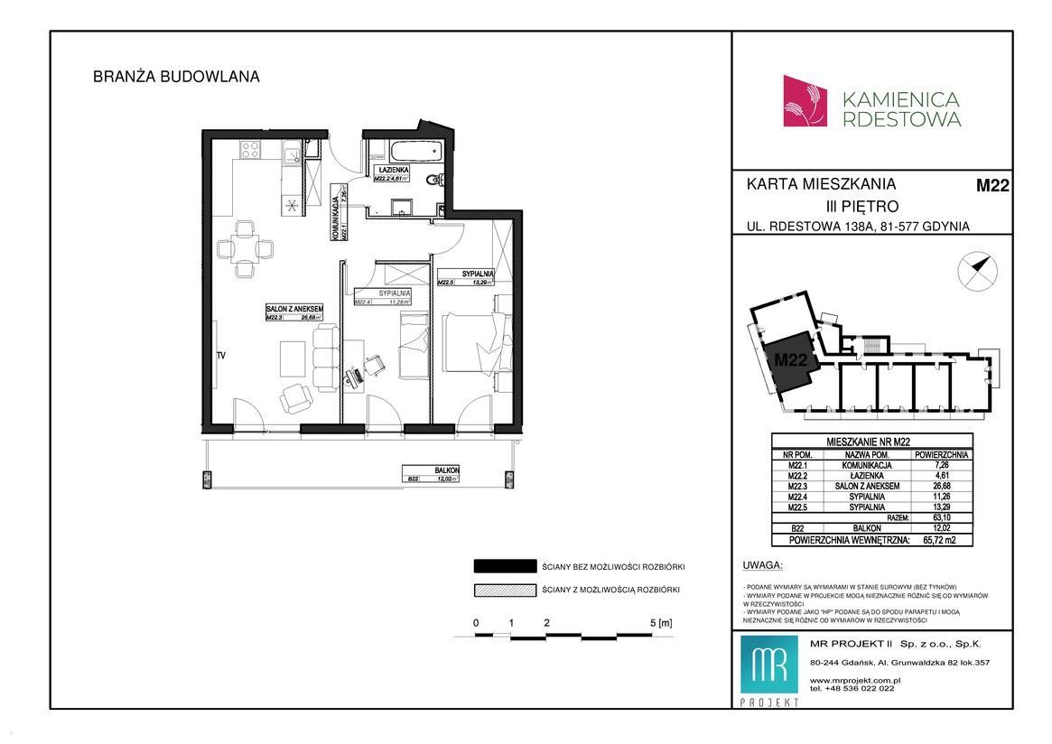 Rzut mieszkania M22