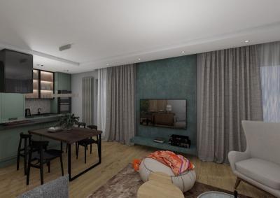 3 pokojowe - wizualizacja salonu